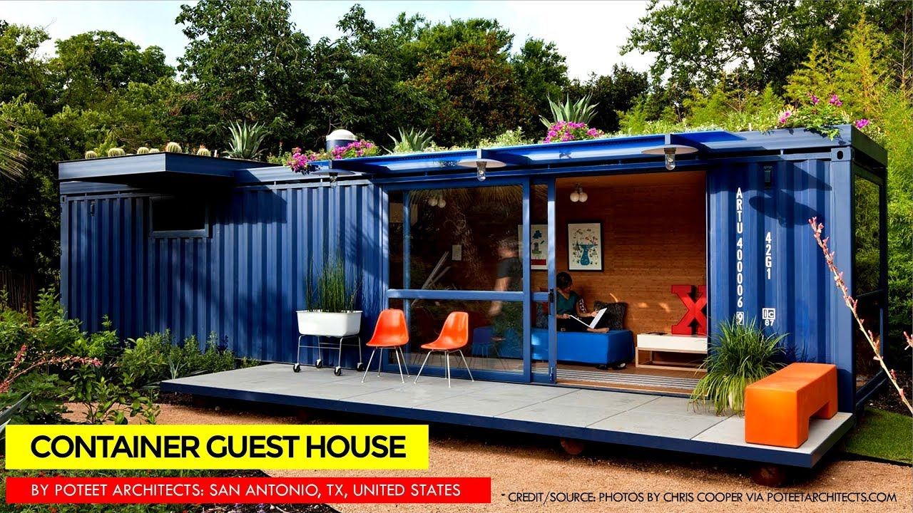 Shipping Container Guest House by Poteet Architects San Antonio
