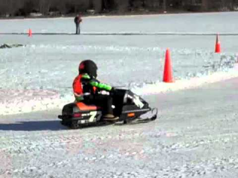 Kids snowmobile races at Big McKenzie