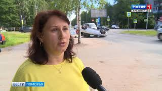 В центре Архангельска отечественная легковушка протаранила китайский внедорожник
