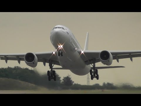 I-Fly Airbus A330 Take Off at Cambridge Airport