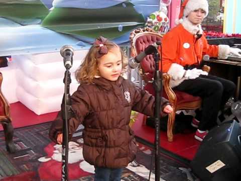 "Caris Singing ""Jingle Bells"" Karaoke at Six Flags Holiday in the Park"