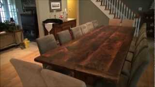 Reclaimed Wood Trestle Tables Finished With Epoxy By Hd Threshing Floor Furniture