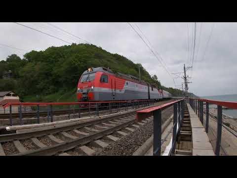 2ЭС4К-092 с поездом 128 Адлер — Красноярск около Туапсе