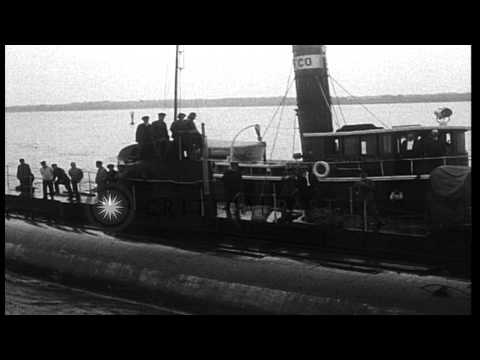 The German Merchant Submarine, Deutschland, arrives with merchant cargo in Baltim...HD Stock Footage