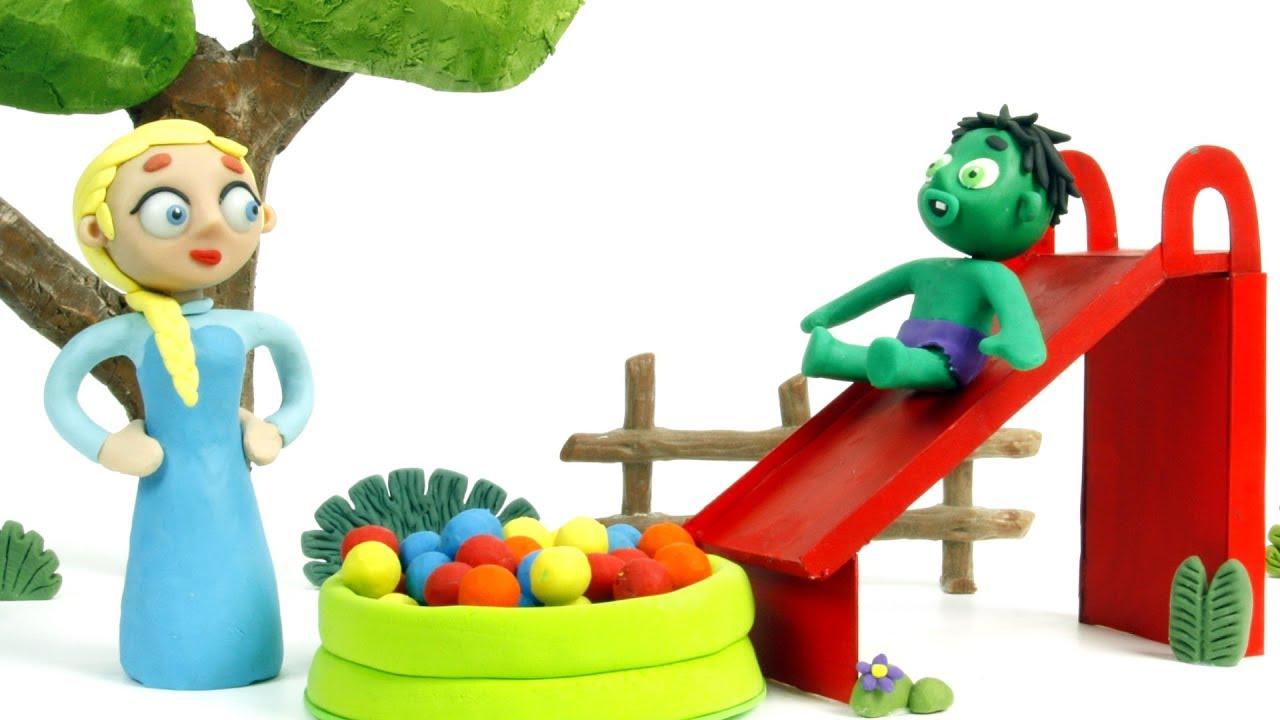Elsa Baby Hulk Ball Playground Play Doh Stop Motion