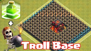 "Clash Of Clans ""CHAMP TROLL BASE"" (Wallbreakers and jump spells)"