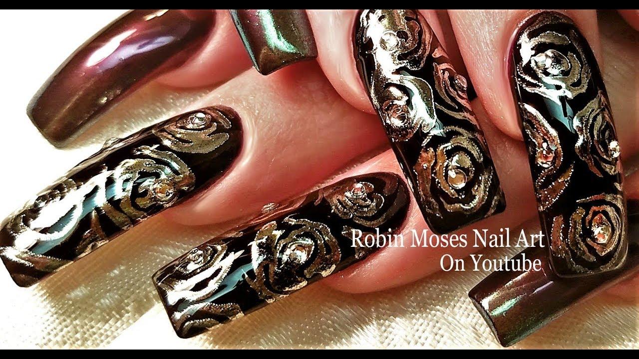 Chrome Roses Nail Art