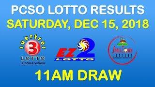 Lotto Result December 15 2018 11am PCSO (ez2, suertres, stl)