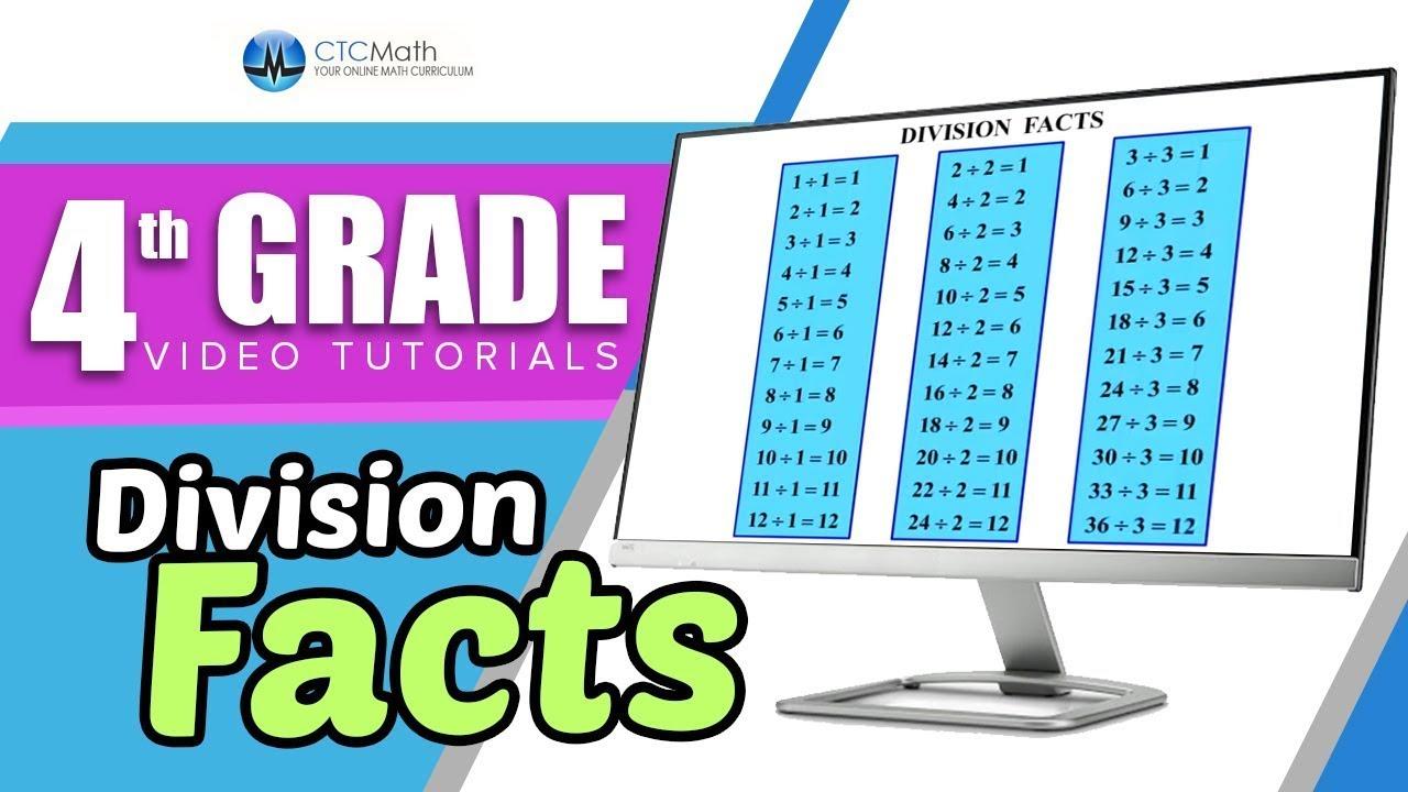 4th Grade Math Tutorials: Division Facts (1-6) - YouTube