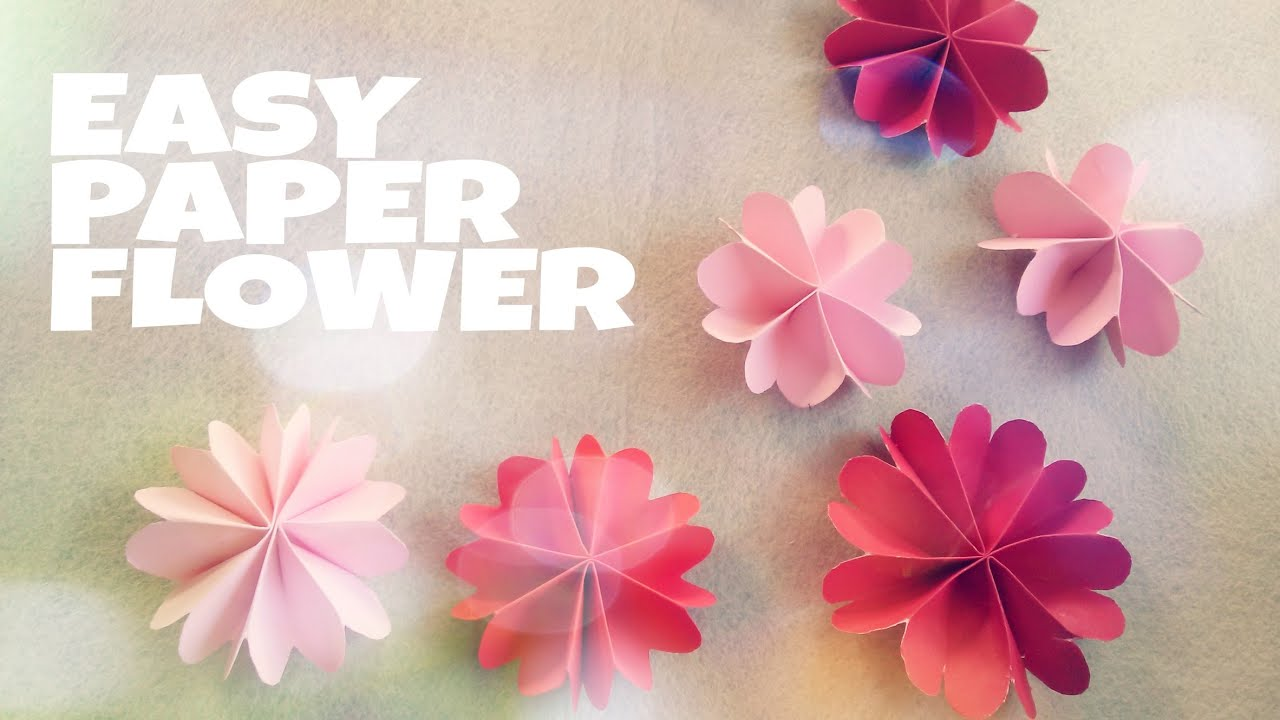 Diy room decoration with paper flower youtube for Decoration paper
