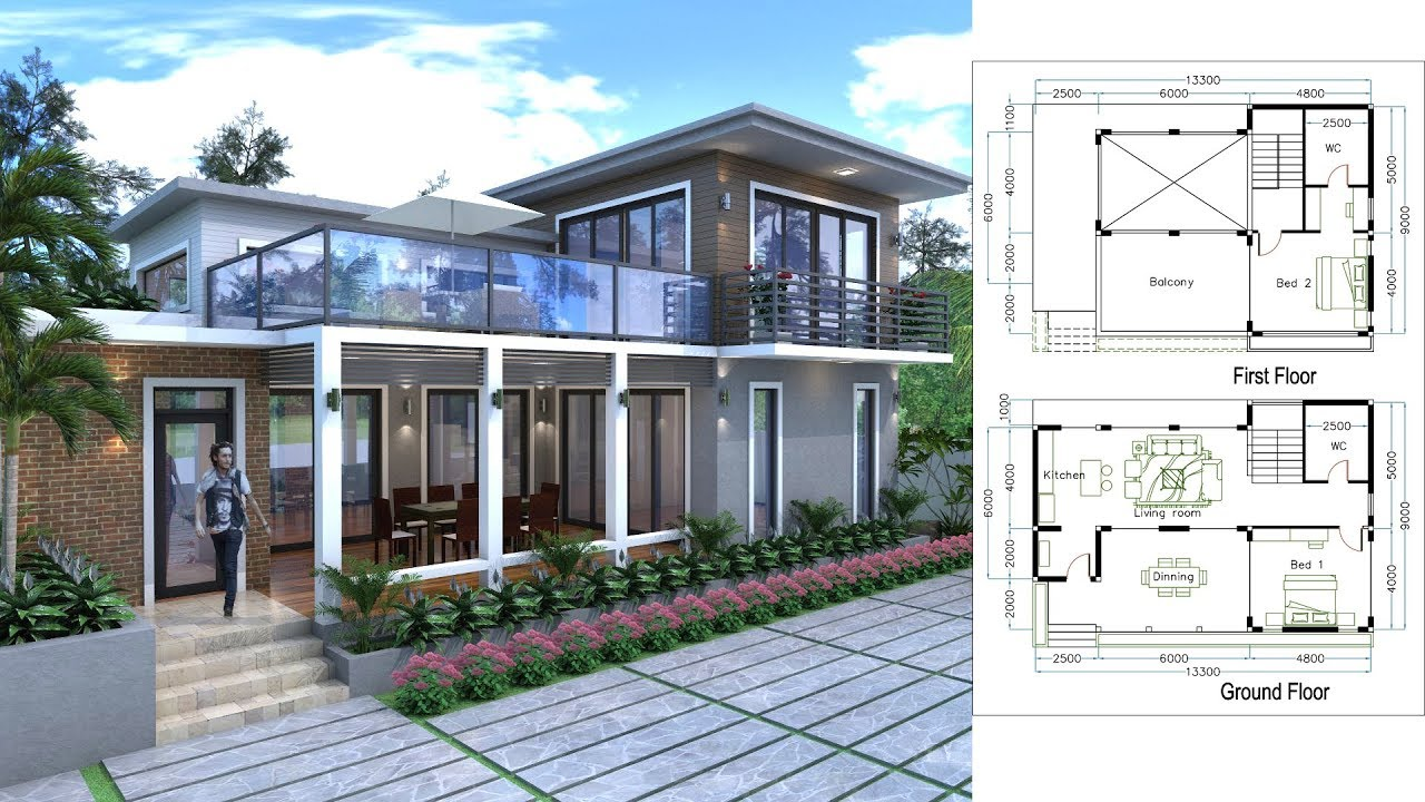 Sketchup 2 story home plan with 2 bedroom youtube for Google house design