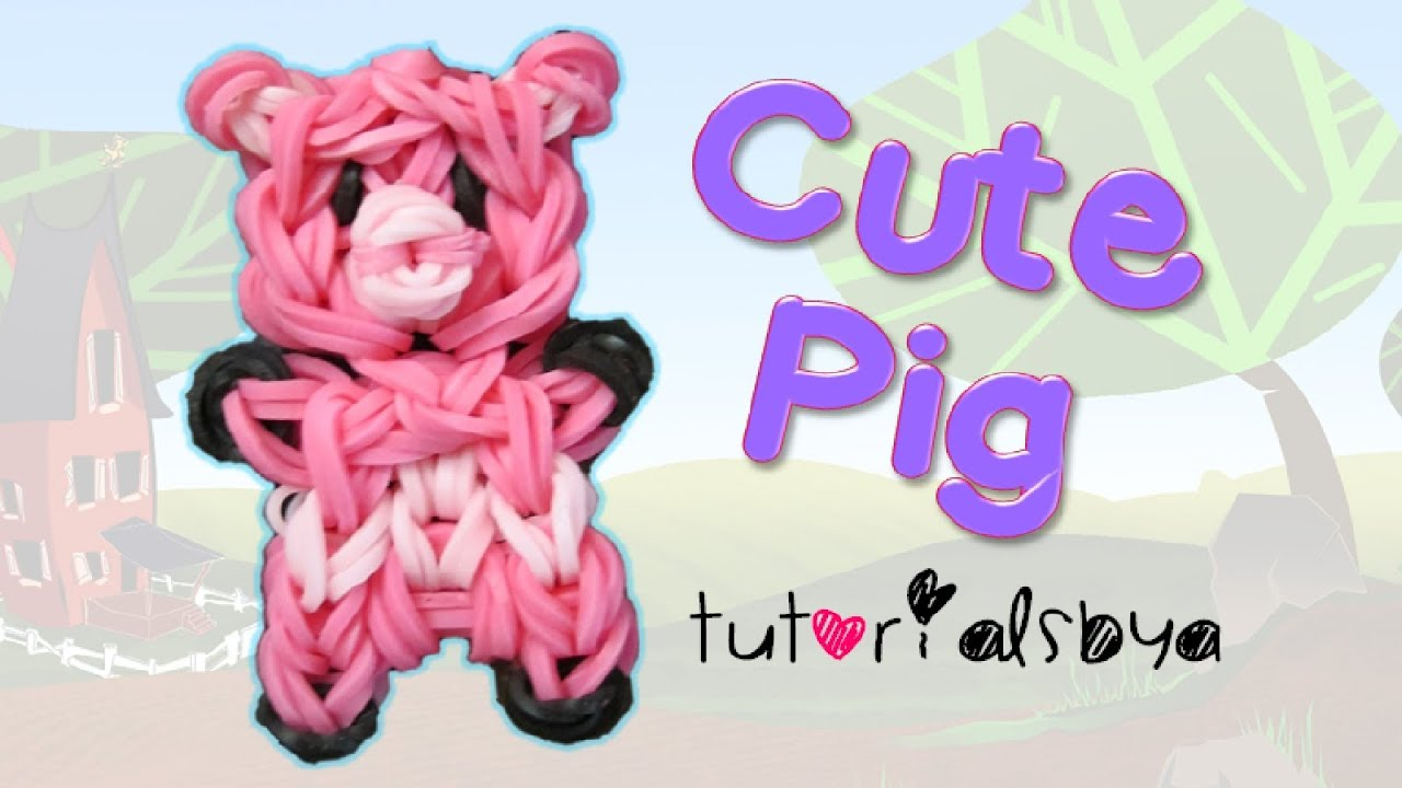 Cute Pig Charm Mini Figurine Rainbow Loom Tutorial Youtube