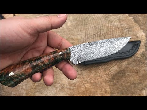 Backwoods Custom Knives - Hunter Fixed Blade In Beautiful Damascus And Insane Maple Burl Handle