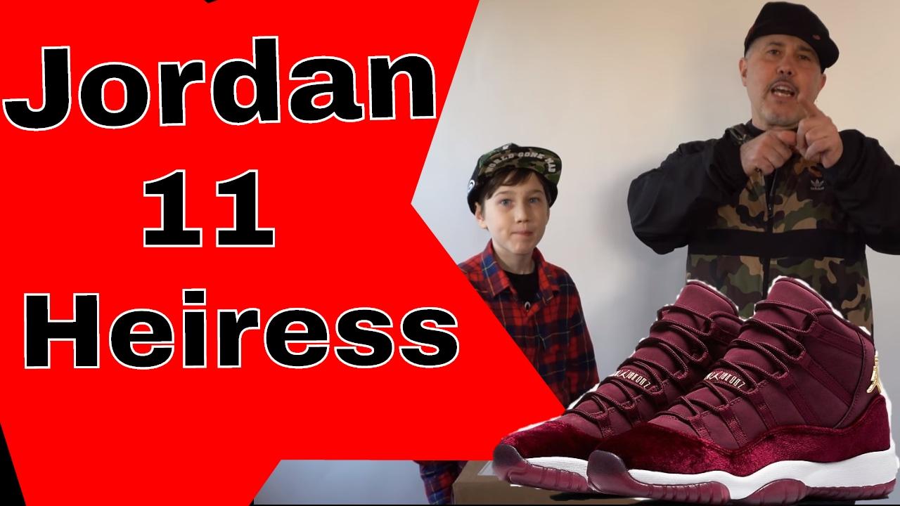 d3d8c3ec810743 Nike Air jordan 11 Heiress Red Velvet Night Maroon Review - YouTube