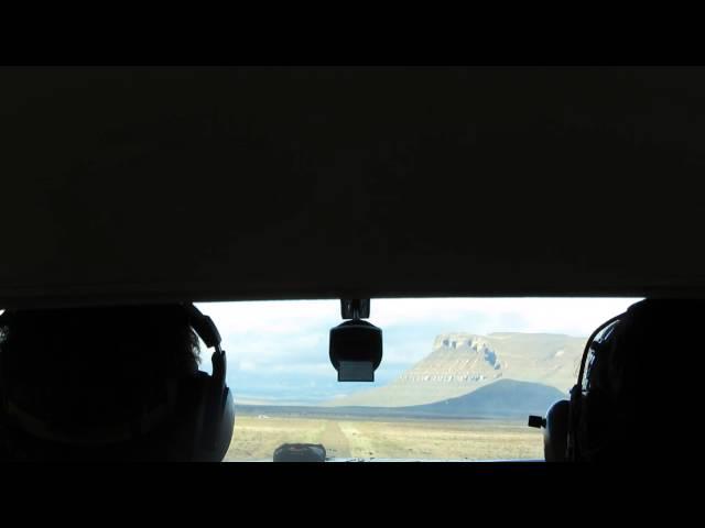 Landing at Sand Wash airstrip