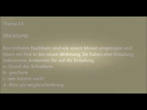 deutsche brief a1-a2-b1 prüfung - 7 - - youtube, Einladungen