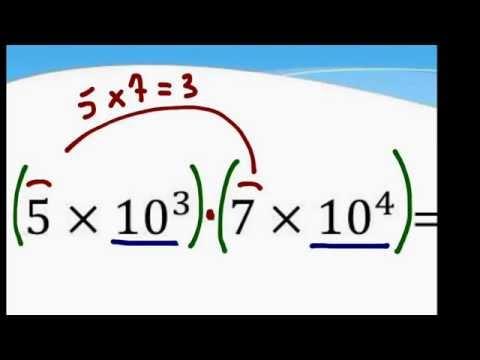 Potências de base 10 - multiplicação, divisão e exponenciação.