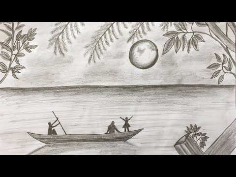 How to Draw Moonlight Night Scenery of Sea & Boat | Pencil Sketch step by step (easy drawing video) thumbnail