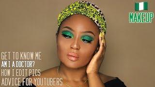 Snapchat Q&A The Real Tea | Green Glitter Nigerian Makeup Tutorial thumbnail