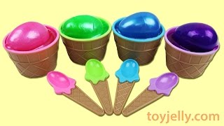 Learn Colors Slime Clay Ice Cream Surprise Cups Play Doh Popsicle Finger Family Song Nursery Rhymes