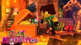 MINECRAFT : VIDA DE MONSTROS - #24 ROUBEI O TESOURO PERDIDO !!!