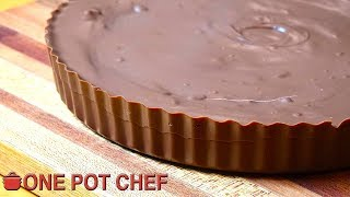 GIANT Chocolate Peanut Butter Cup! | One Pot Chef