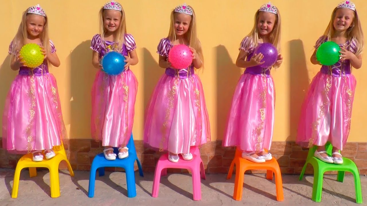 Download Rapunzel FOI CLONADO - Aprendendo cores com bolas, Five little babies jumping on the bed song color