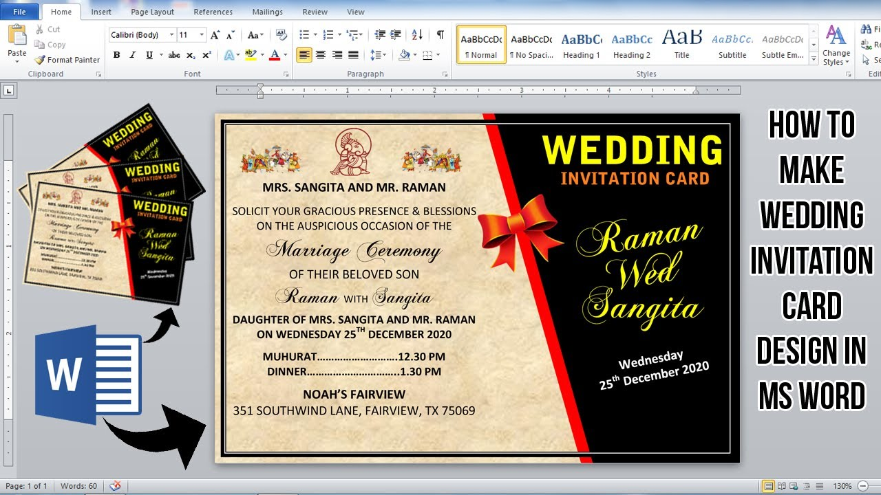 ms word tutorial how to make wedding invitation card design in ms word invitation card design