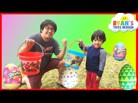 Thumbnail: Easter Eggs Hunt Surprise Toys Challenge Water Balloons Fight Shopkins Disney Cars Toys Paw Patrol
