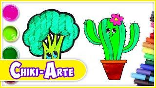 Aprende a Dibujar un Cactus y un Brócoli - Dibujos para Niños | Los Juguetes Son Divertidos