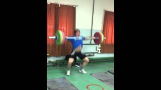 140kg Snatch for triple in running shoes