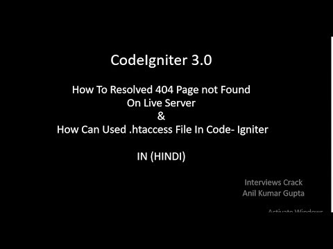 HOW TO RESOLVED 404 PAGE NOT FOUND ON LIVE SERVER IN CODE-IGNITER IN (HINDI)