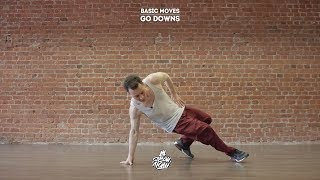 "31. Basic moves (Go downs)   Видео уроки брейкданс от ""Своих Людей"""