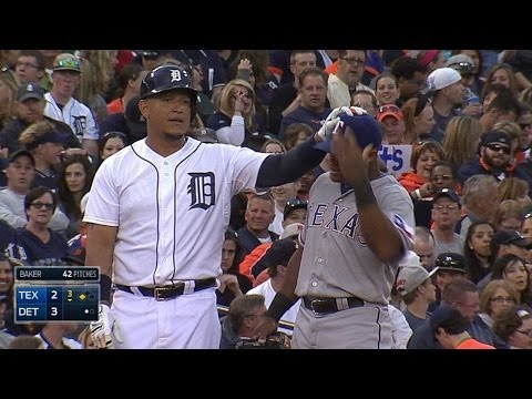 WATCH THE HAIR! Miguel Cabrera ruffles Adrian Beltre's feathers