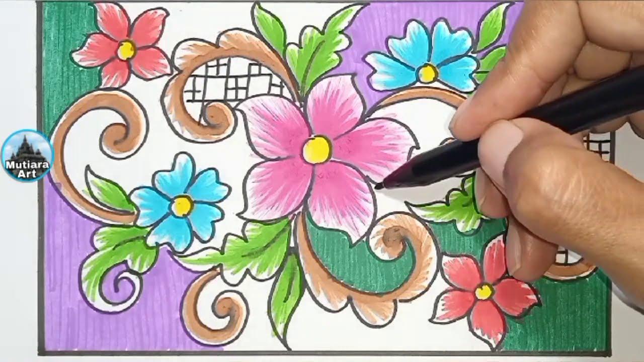 Menggambar Ragam Hias Flora || Batik Sederhana - YouTube