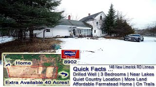 Cheap Farm House For Sale | 146 New Limerick Rd Linneus Me | Real Estate Mooers Realty #8902