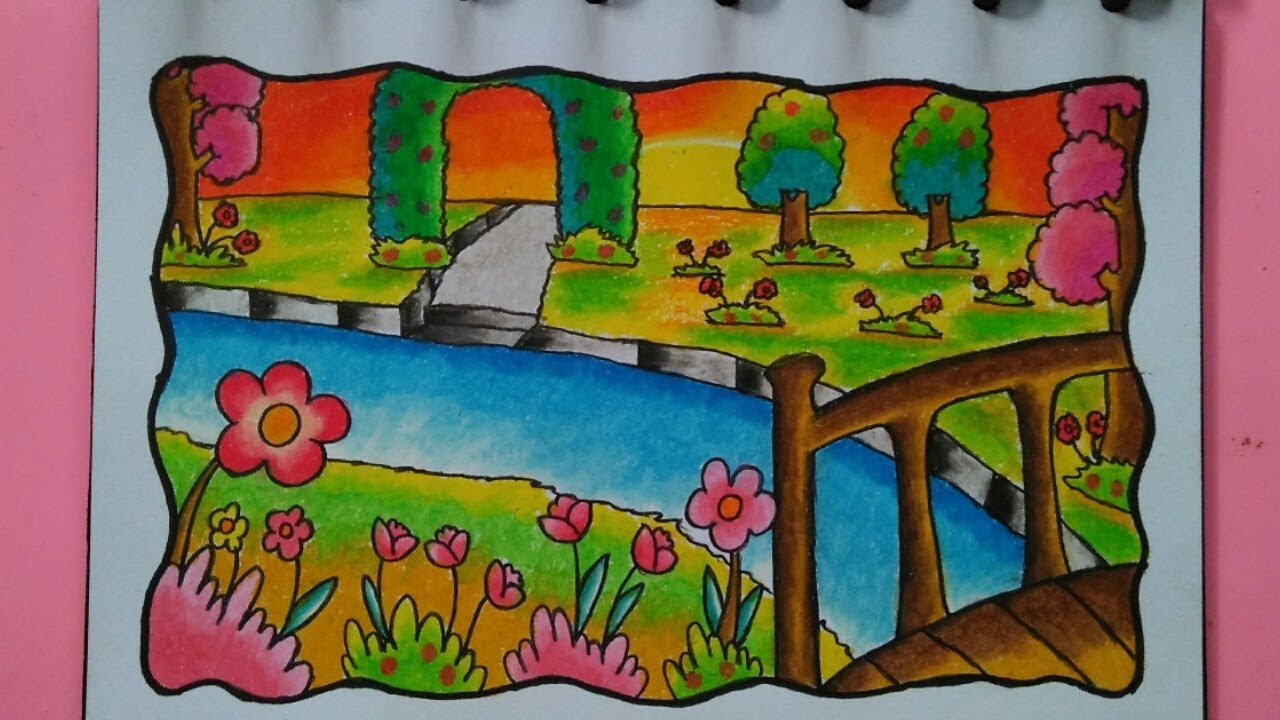 Cara Menggambar Dan Mewarnai Pemandangan Bunga Gradasi Warna Oil Pastel Youtube