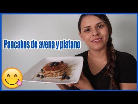 Como hacer pancakes de avena y platano facil y rapido.