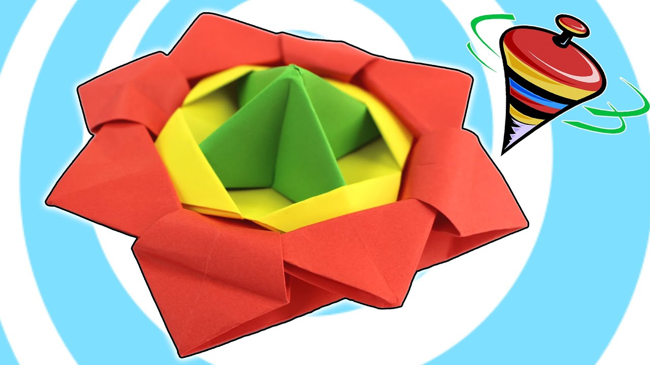 action origami spinning top toy video tutorial youtube