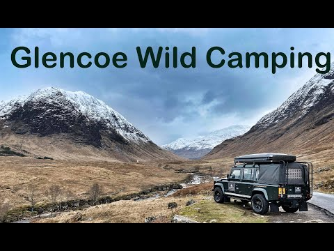 Glencoe Wild camping in a Landrover 110 - Drone footage