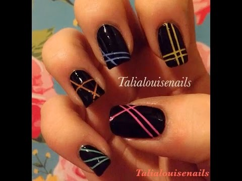 strip nail art - YouTube