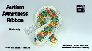 Rainbow Loom Autism Awareness Ribbon - Hook Only/Loom Less - Inspired by Crochet Memories