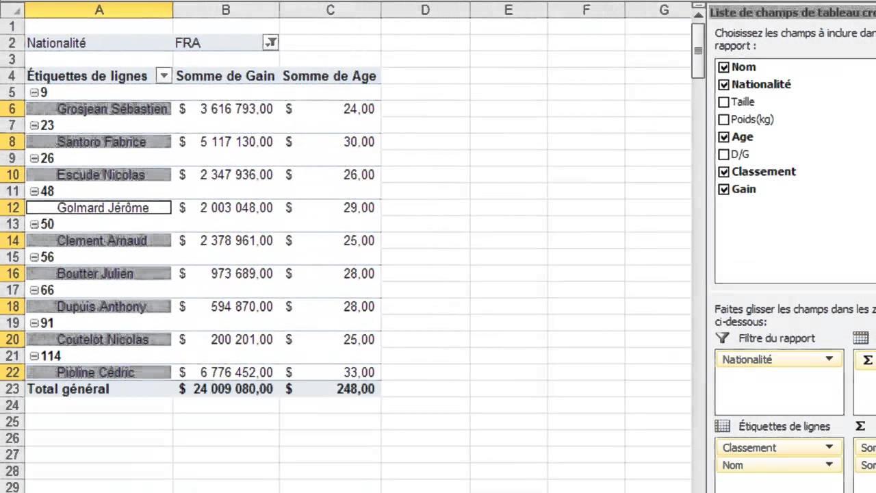 Excel 2010 - Utiliser les fonctions avancées du tableau croisé dynamique - YouTube