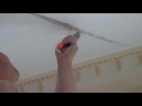 Расшивка и ремонт трещин в потолке 25 07 16