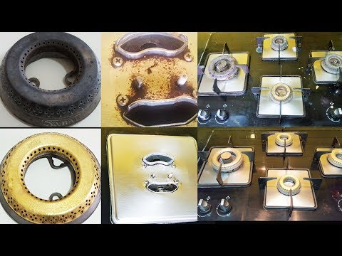 How To Clean Gas Stove Top | Kitchen Hacks by Madhurasrecipe | Clean Gas Stove Grates and Burners