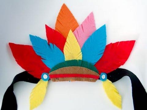 Disfraz casero tocado de plumas de indio youtube - Material para hacer diademas ...