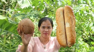 Awesome Cooking Grilled Bread w/ Coconut Milk Recipe - Show Eating Delicious  - Village Food Factory