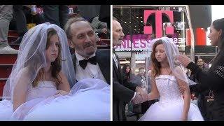 12-летняя Невеста и Пожелой жених Позировали в центре Нью Йорка! Реакцию жителей надо видеть…