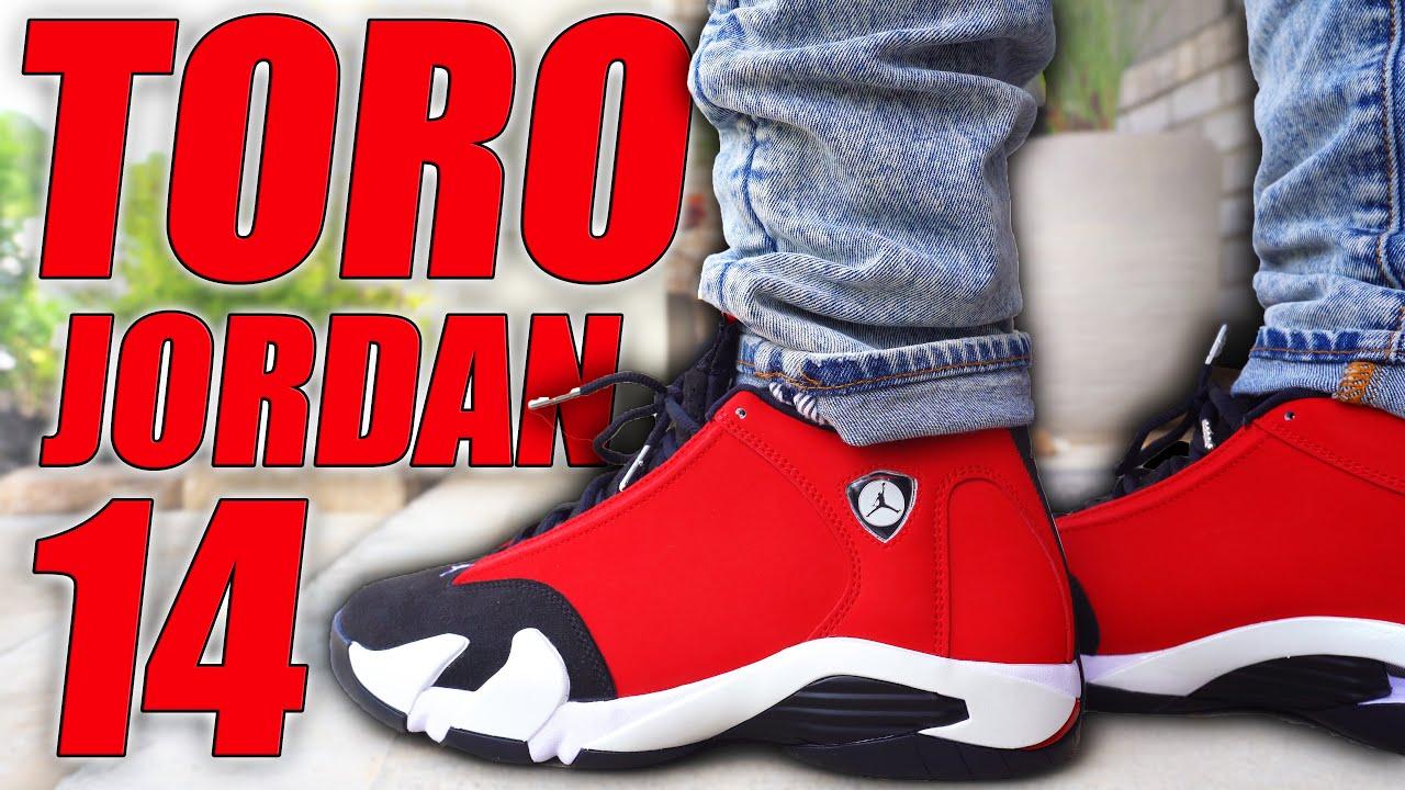 AIR JORDAN 14 TORO REVIEW ON FOOT IN 4K
