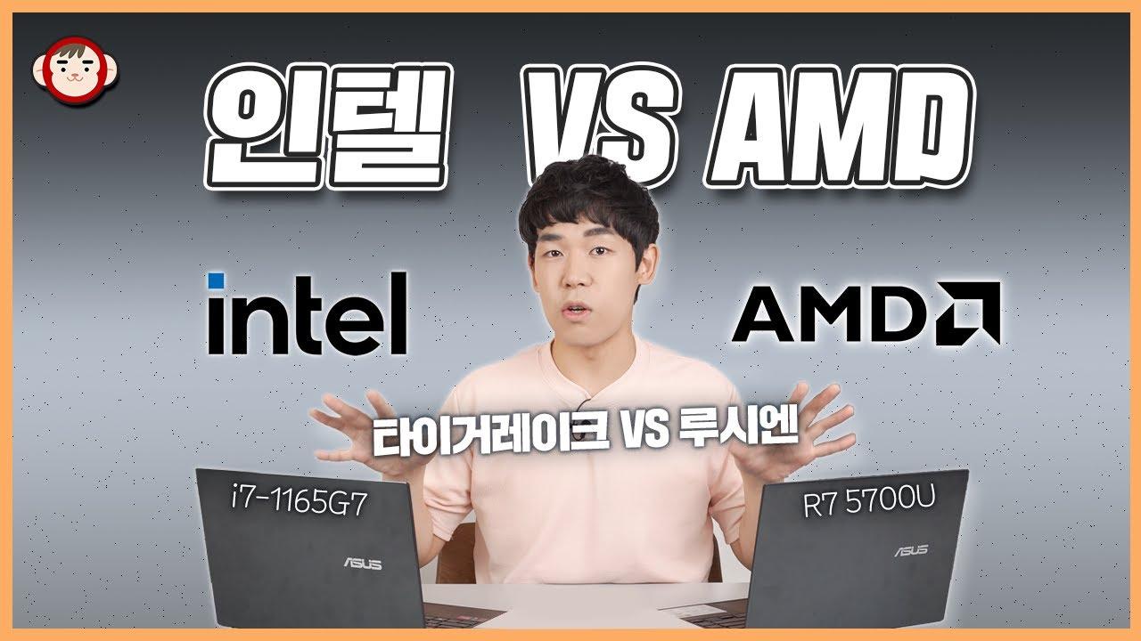 충격적, 인텔 VS AMD 노트북 성능 대결! 아니 결과가 왜 이래? (인텔 11세대 i7-1165G7 VS 루시엔 R7 5700U)